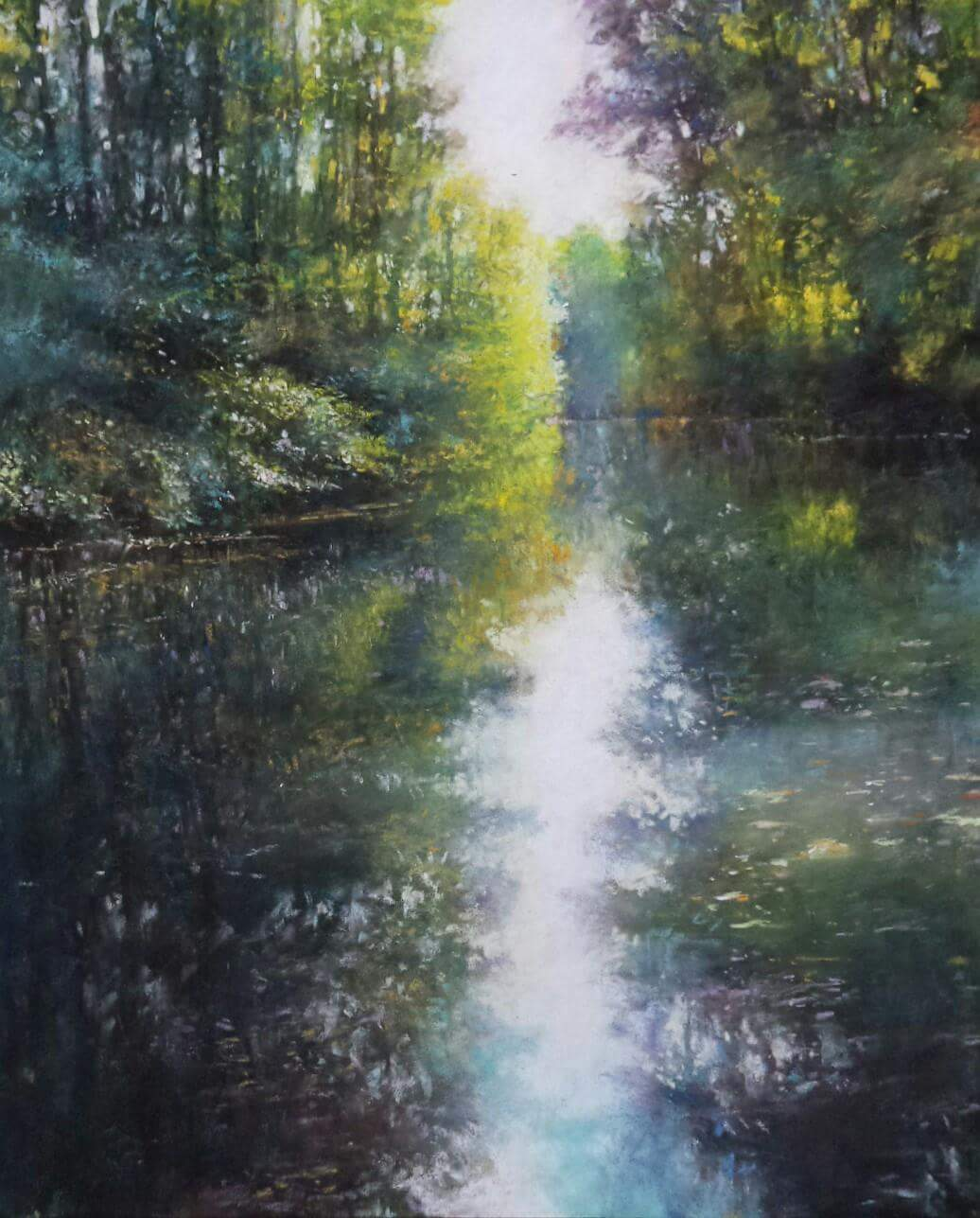 "Alain Voinot, ""At the Park of the Confluence,"" pastel on black Pastelcard, 25 x 19 in"