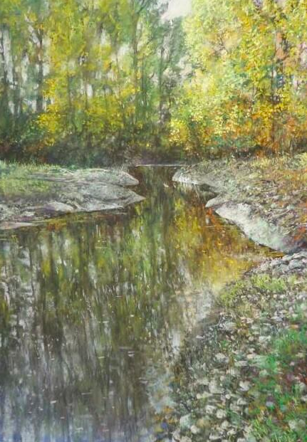"Alain Voinot, ""Little Yellow Place,"" pastel on Canson Touch, 25 x 19 in"