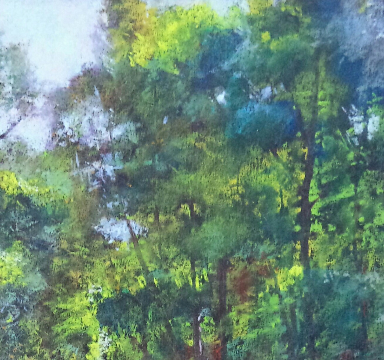 "Alain Voinot, ""Meditation,"" pastel on black Canson Mi-teintes paper, 25 x 19 in - detail of trees"