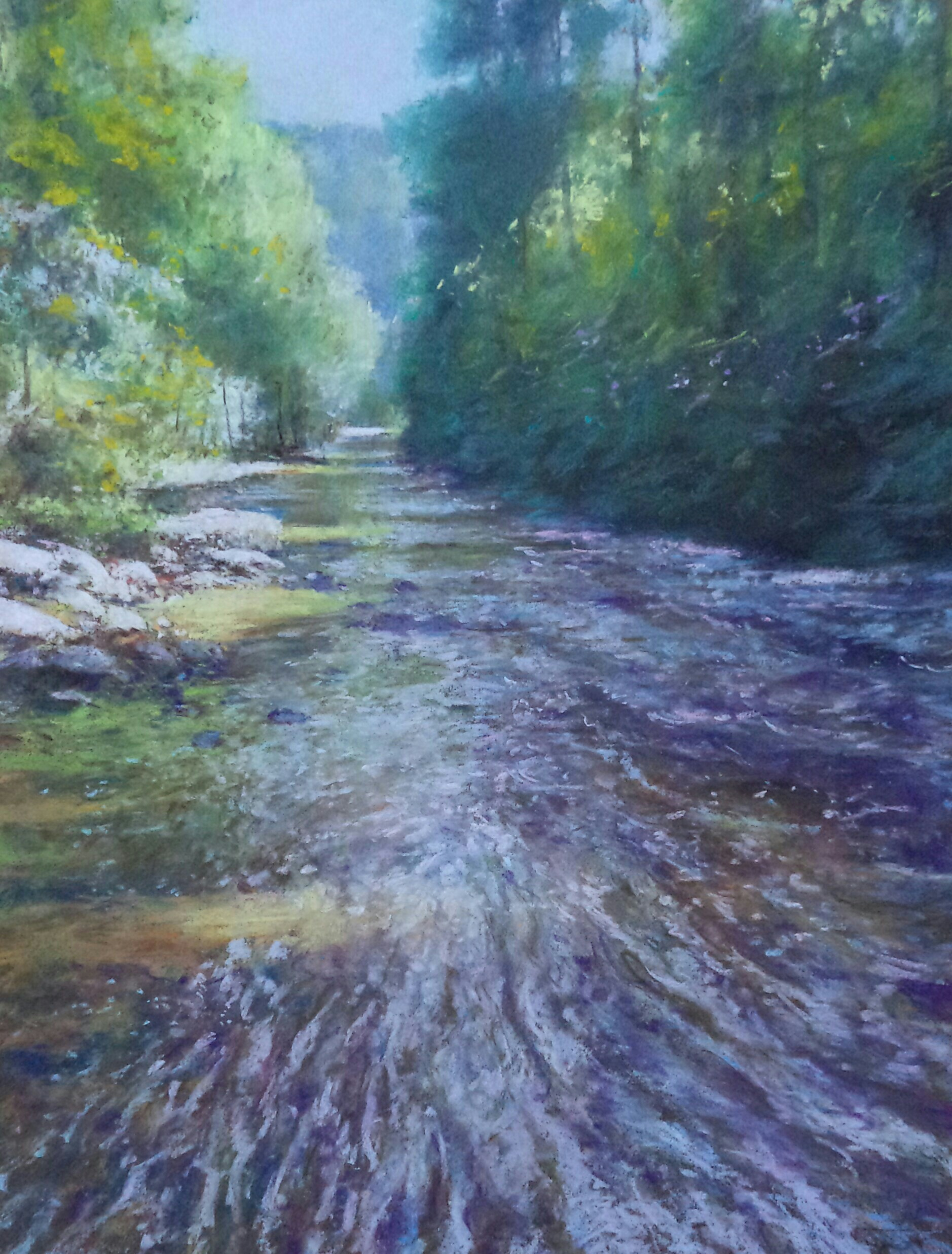 "Alain Voinot, ""River with Dimming Light,"" pastel on brown Canson Mi-teintes paper, 25 x 19 in"
