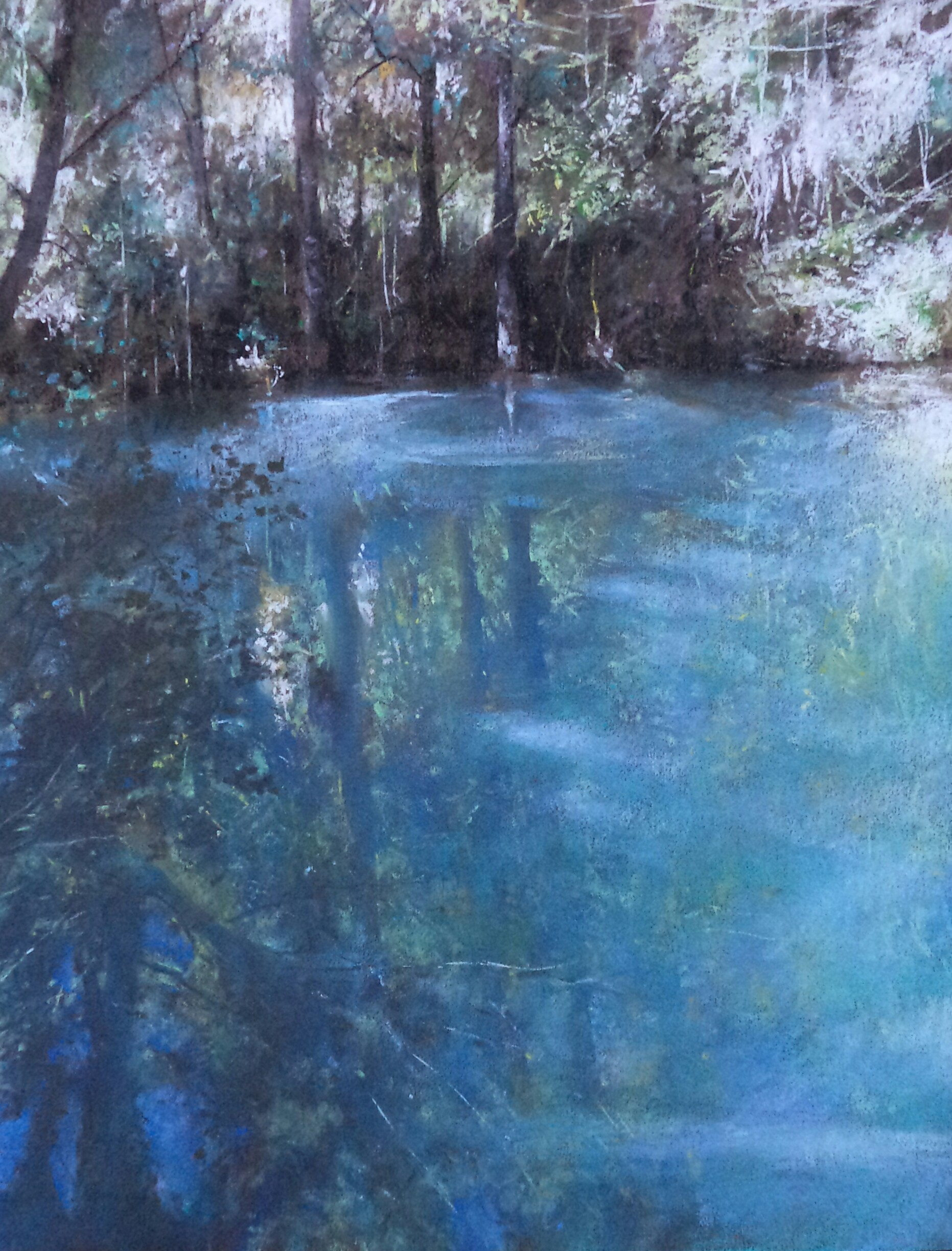 "Alain Voinot, ""Swamp at the Bottom of the Waterfall,"" pastel on brown Canson Mi-teintes paper, 19 x 15 in"