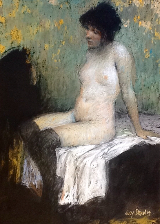 "November's Terrific Pastels: Judy Drew, ""Nude in Black Stockings,"" pastel, size unknown at this time"