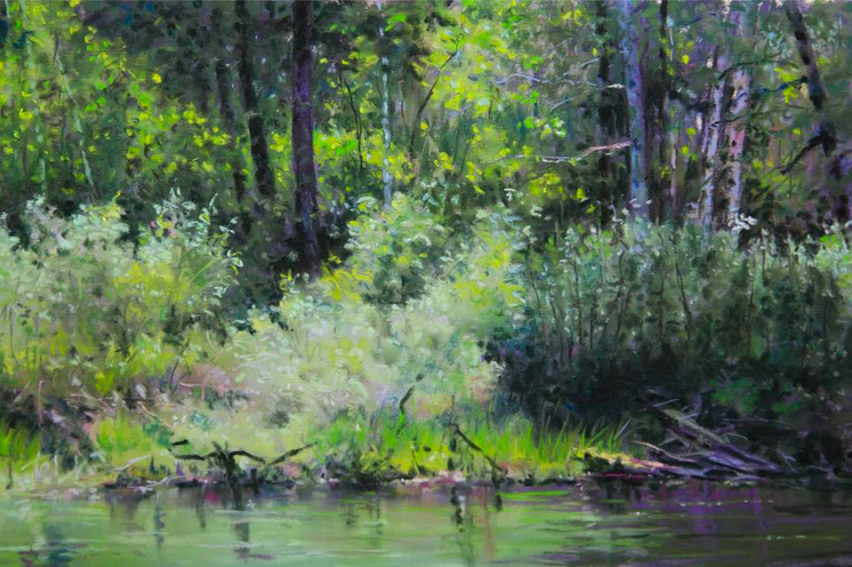 "November's Terrific Pastels: Kathy Dolan, ""Spanish River Bank/Water's Edge,"" pastel on UArt paper, 8 x 12 in"