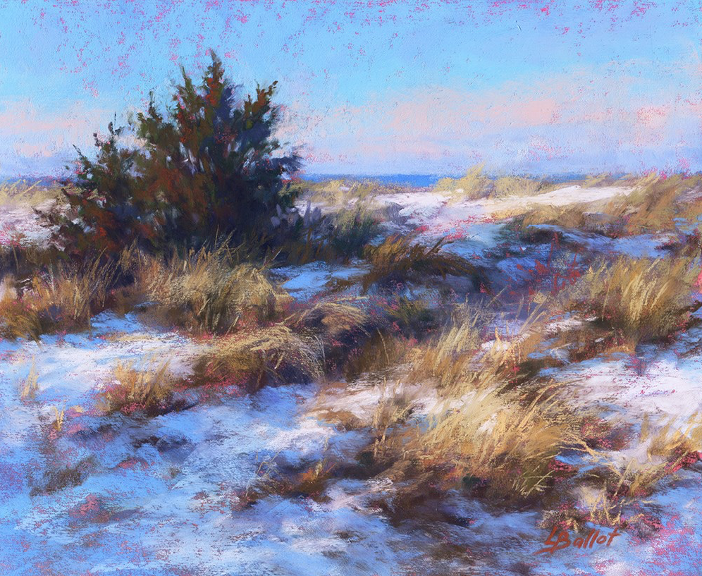 "November's Terrific Pastels: Lana Ballot, ""Snow in Cedar Beach Dunes,"" pastel on UArt paper, 8 x 10 in"