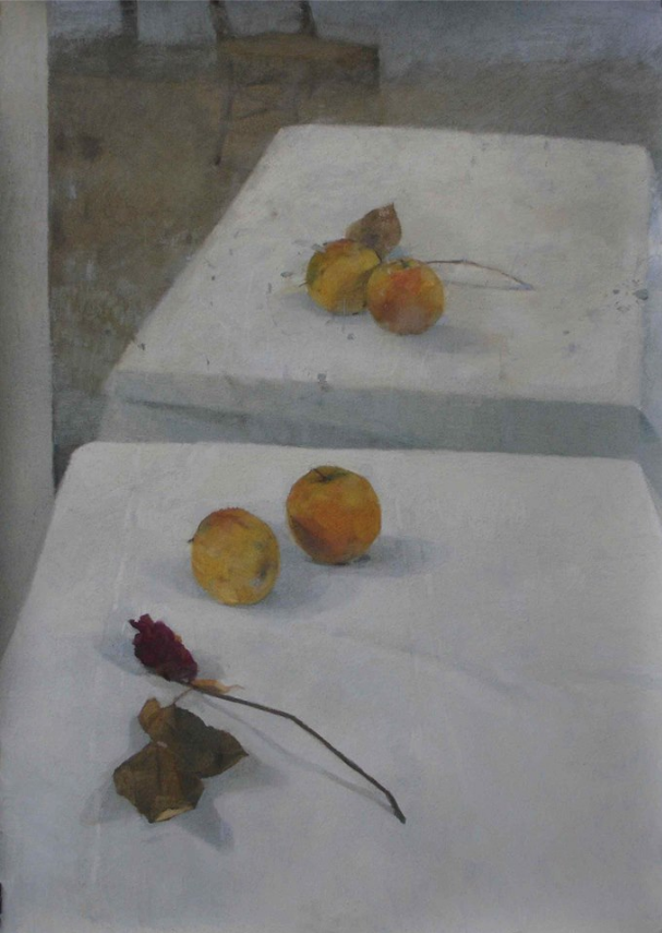 "November's Terrific Pastels: Mathieu Weemaels, ""Composition aux Pommes,"" 2012, pastel, 39 3/8 x 27 1/2 in (100 x 70 cm)"