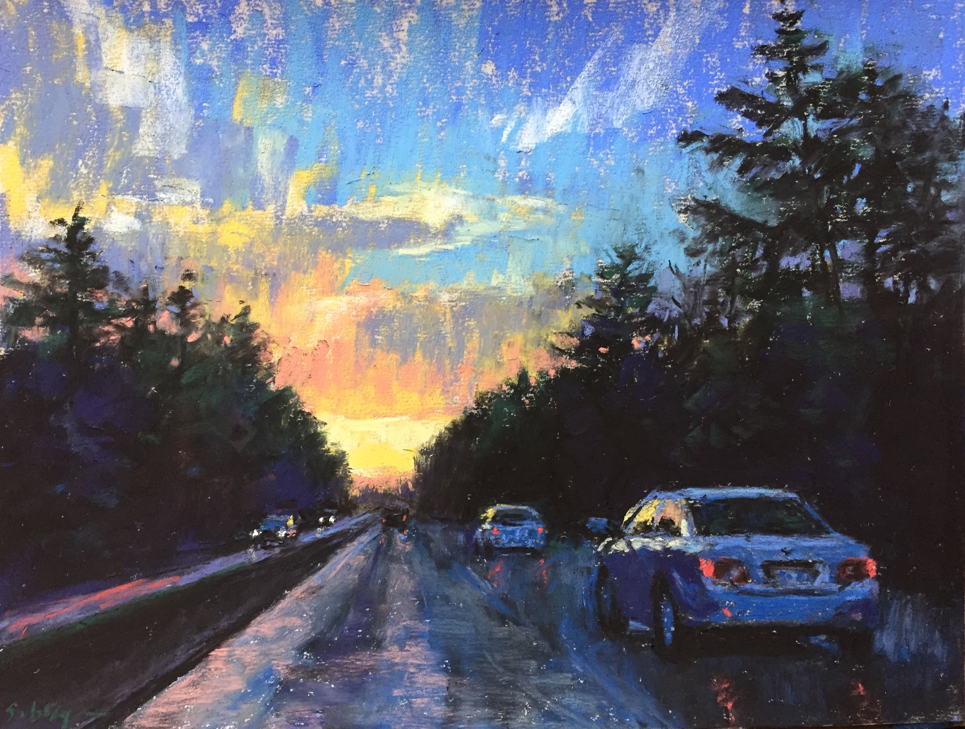"DK Project: Gail Sibley, ""Returning Home,"" Unison pastels on UArt paper, 9 x 12 in"