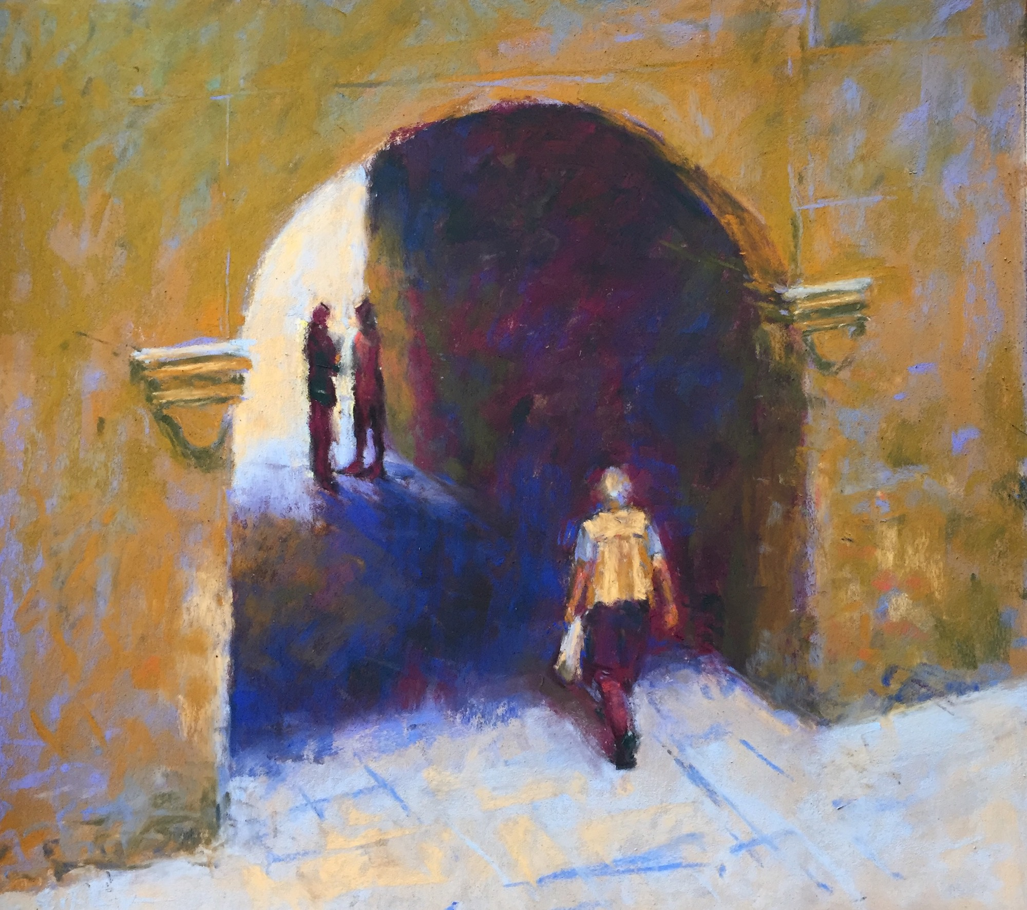 "DK Project: Gail Sibley, ""Passing Through (Budapest),"" Unison pastels on UArt 500 grit paper, 12 x 13 in"