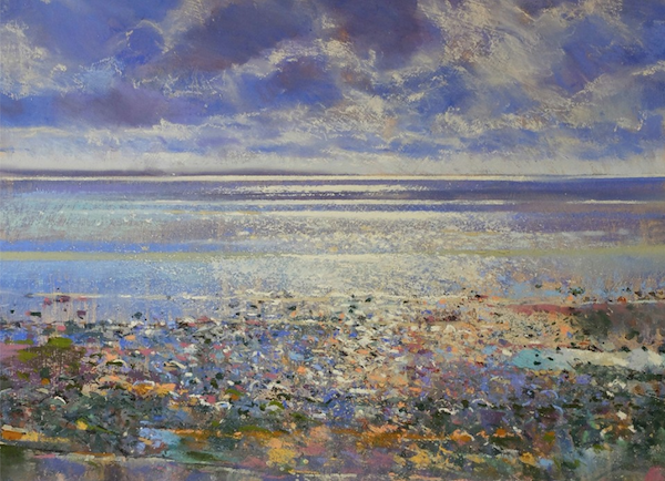 "Richard Suckling, ""Newlyn Beach Summer Sparkle,"" pastel on Canson Touch paper, 9 ¾ x 13 ¾ in"