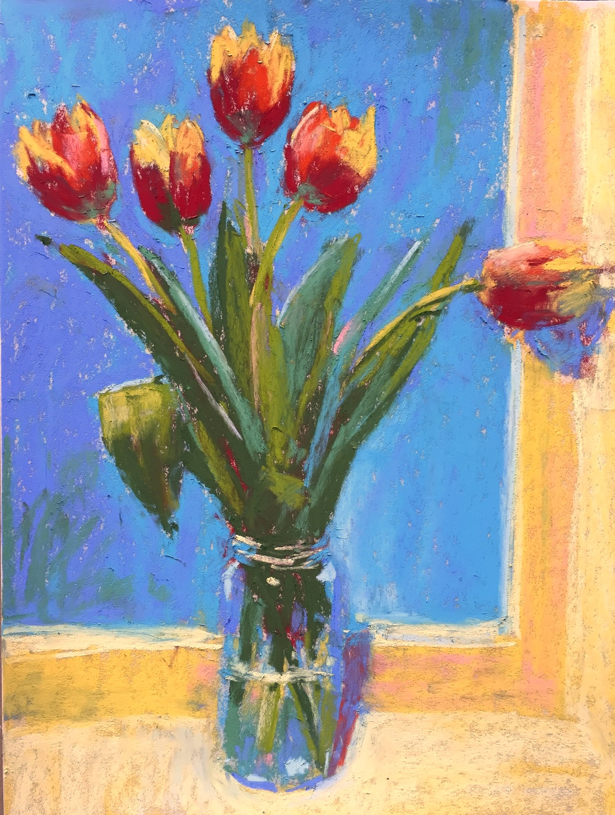 DK Project: Gail Sibley, Tulips 1, pastel, Unison pastels on UArt 500 paper, 12 x 9 in