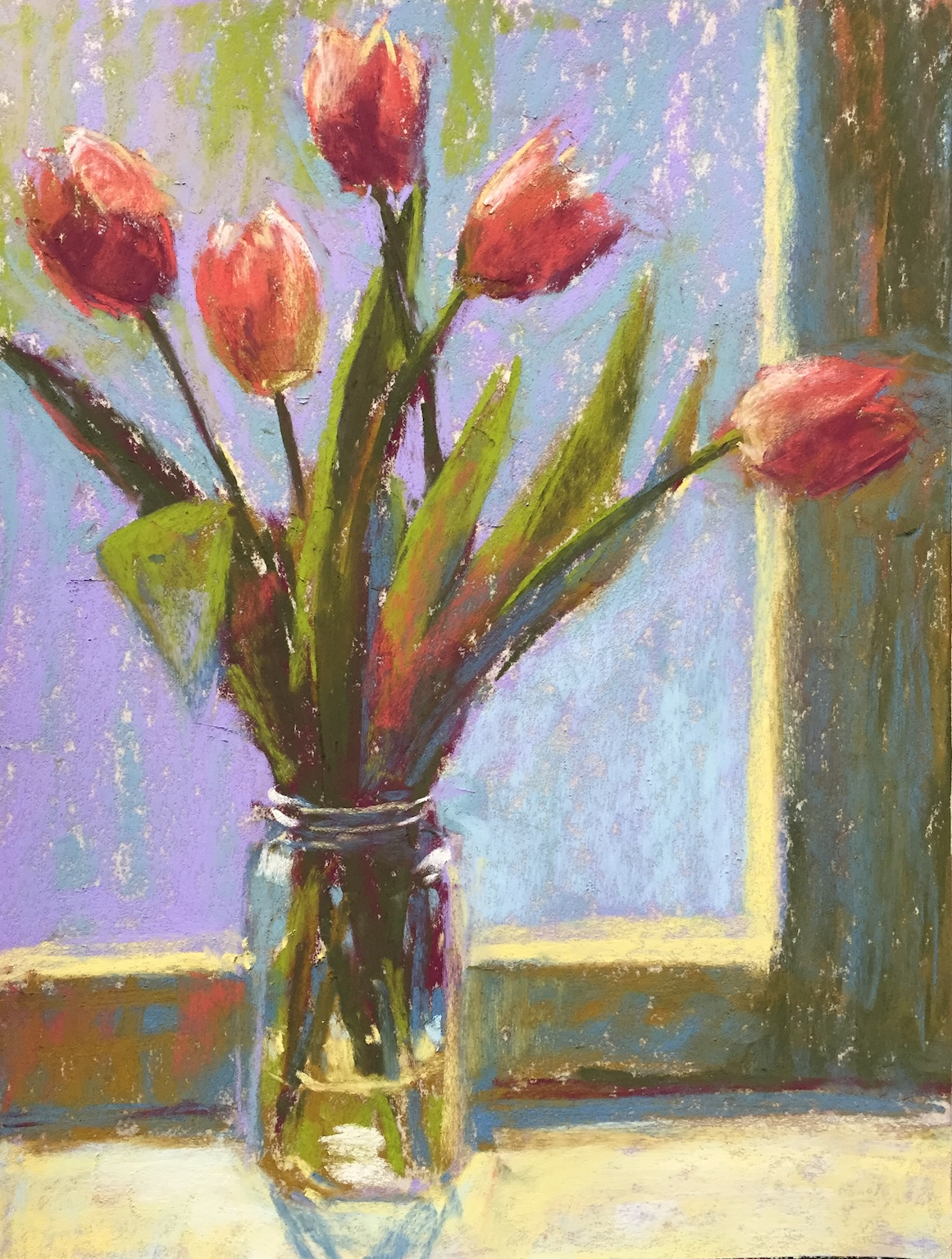 DK Project: Gail Sibley, Tulips 2, pastel, Unison pastels on UArt 500 paper, 12 x 9 in
