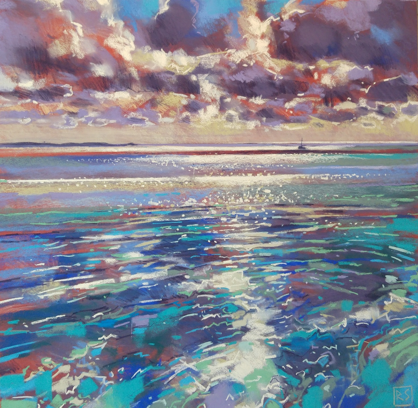"Richard Suckling, ""Morning Shimmer Mounts Bay,"" pastel on Sennelier LaCarte, 19 ¾ x 19 ¾ in. My usual studio style of pastel painting, primarily Cornish coastal scenes with a liking for a bit of sparkle on the water."