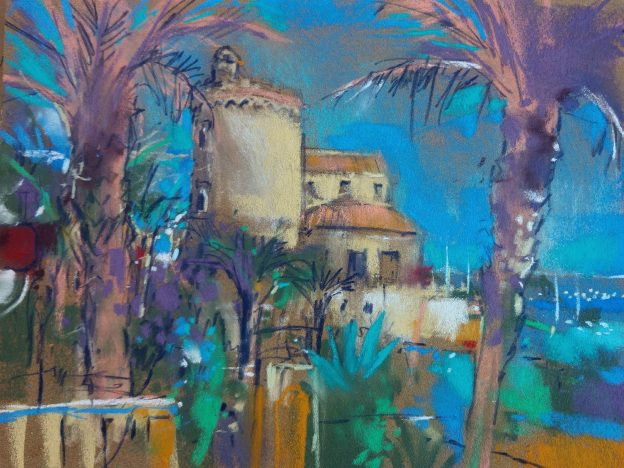 "Richard Suckling, ""Horadada,"" Unison and Sennelier pastels on Sennelier LaCarte 9 ½ x 12 ½ in. Painted from a lovely tapas bar in the village on the sea front with a nice bit of shade."