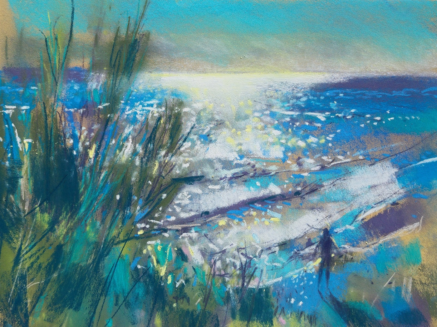 "Richard Suckling, ""Horadada Beach,"" Unison and Sennelier pastels on Sennelier LaCarte, 9 ½ x 12 ½ in. Very bright high contrast scene - just squinted and went for it."