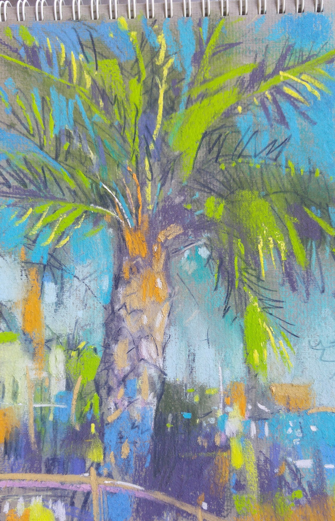 "Richard Suckling, ""Costa Palm Tree,"" pastel on paper, 9 ½ x 12 ½ in. I prefer sanded surfaces as a rule but this grey laid paper from Sennelier is quite nice."
