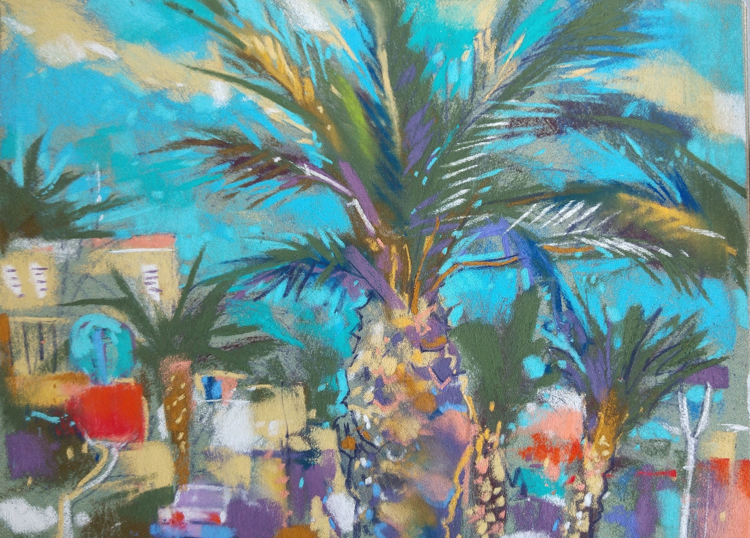 "Richard Suckling, ""Costa Blanca,"" Unison and Sennelier pastels on Sennelier LaCarte, 9 ½ x 12 ½ in. Painted this while sat in a beach side bar after lunch."