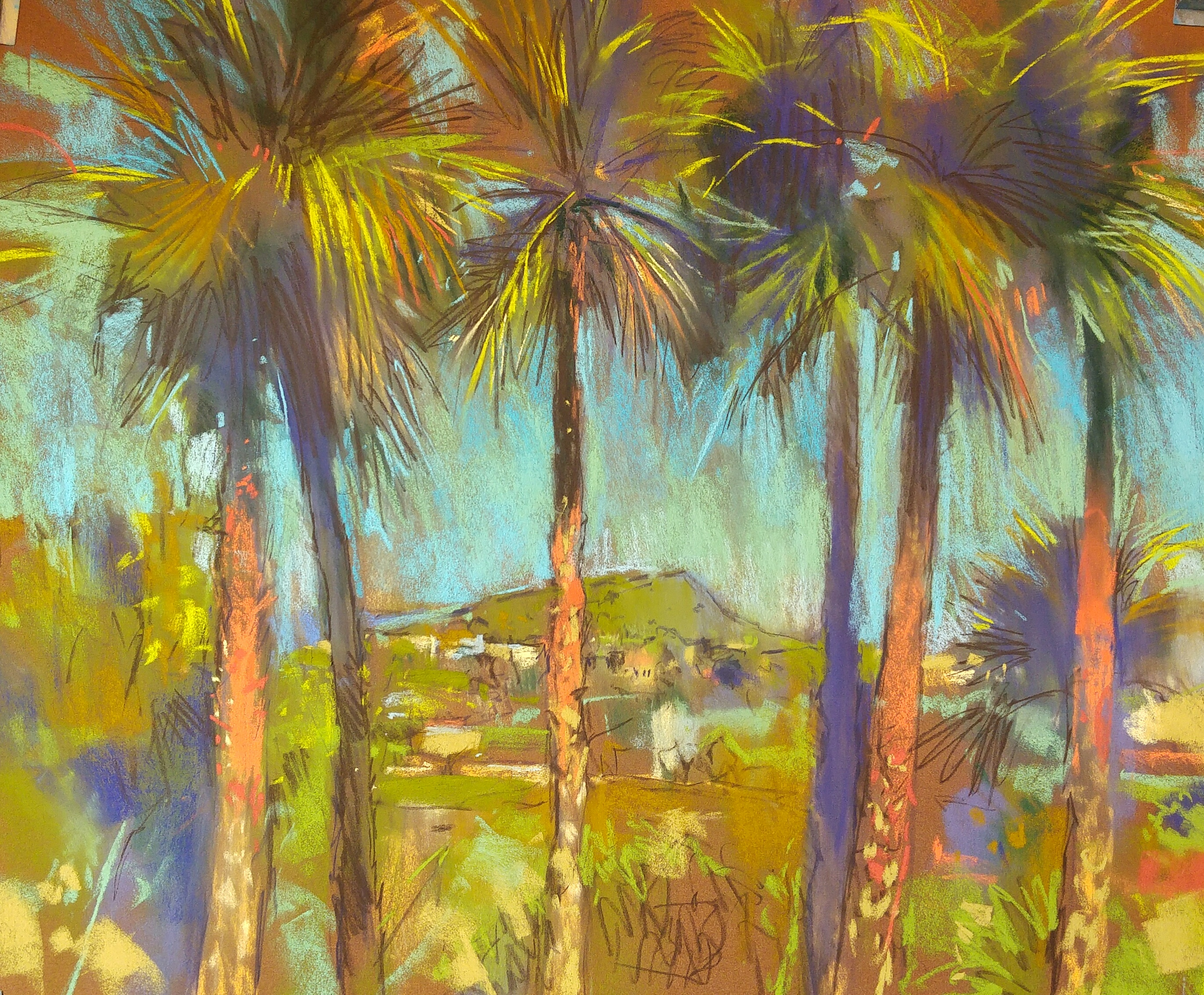 Richard Suckling, Spanish work in progress, pastel on Sennelier La Carte, 17 ¾ x 19 ¾ in. A studio piece from drawings and photos collected whilst on the Costa Blanca.