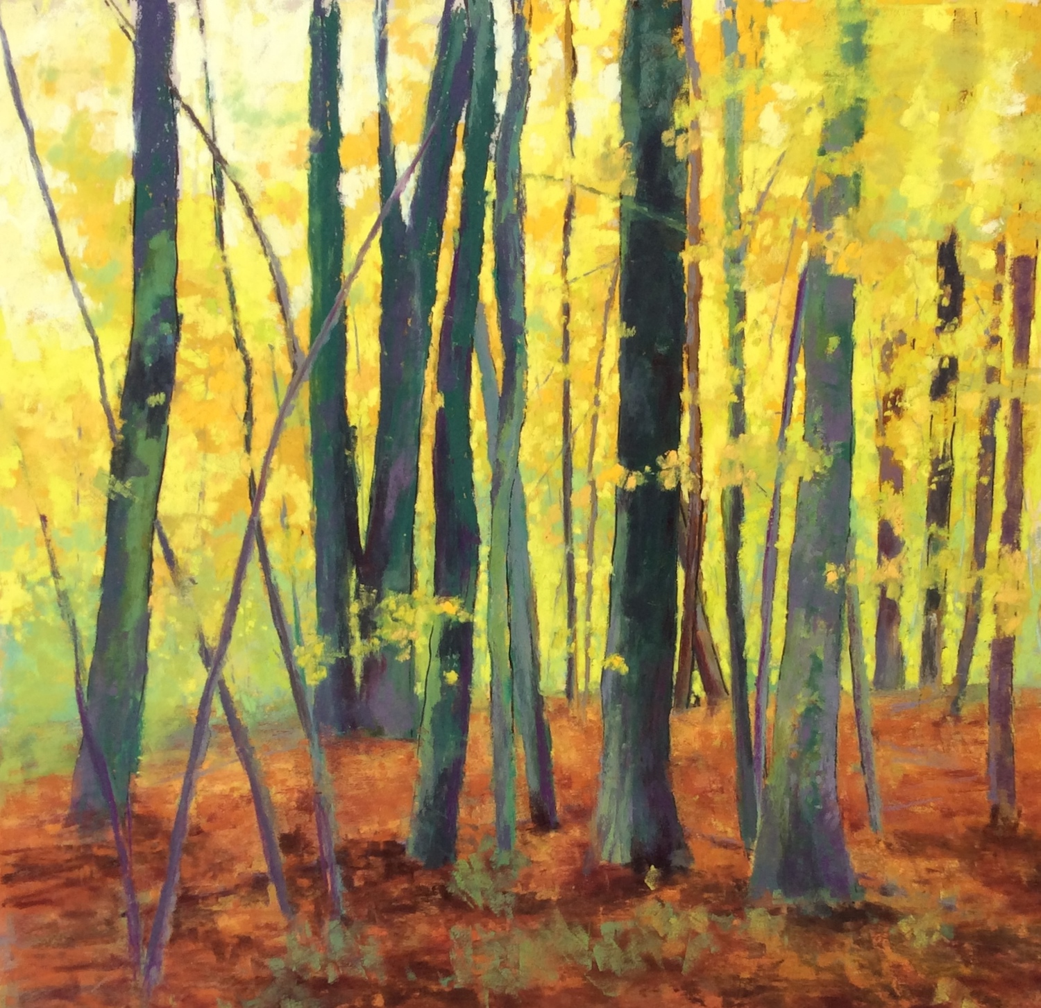 "Maureen Spinale, ""October,"" Schmincke, Townsend, Sennelier pastel painted on UArt 400 over ink and black marker, 18x18 in."