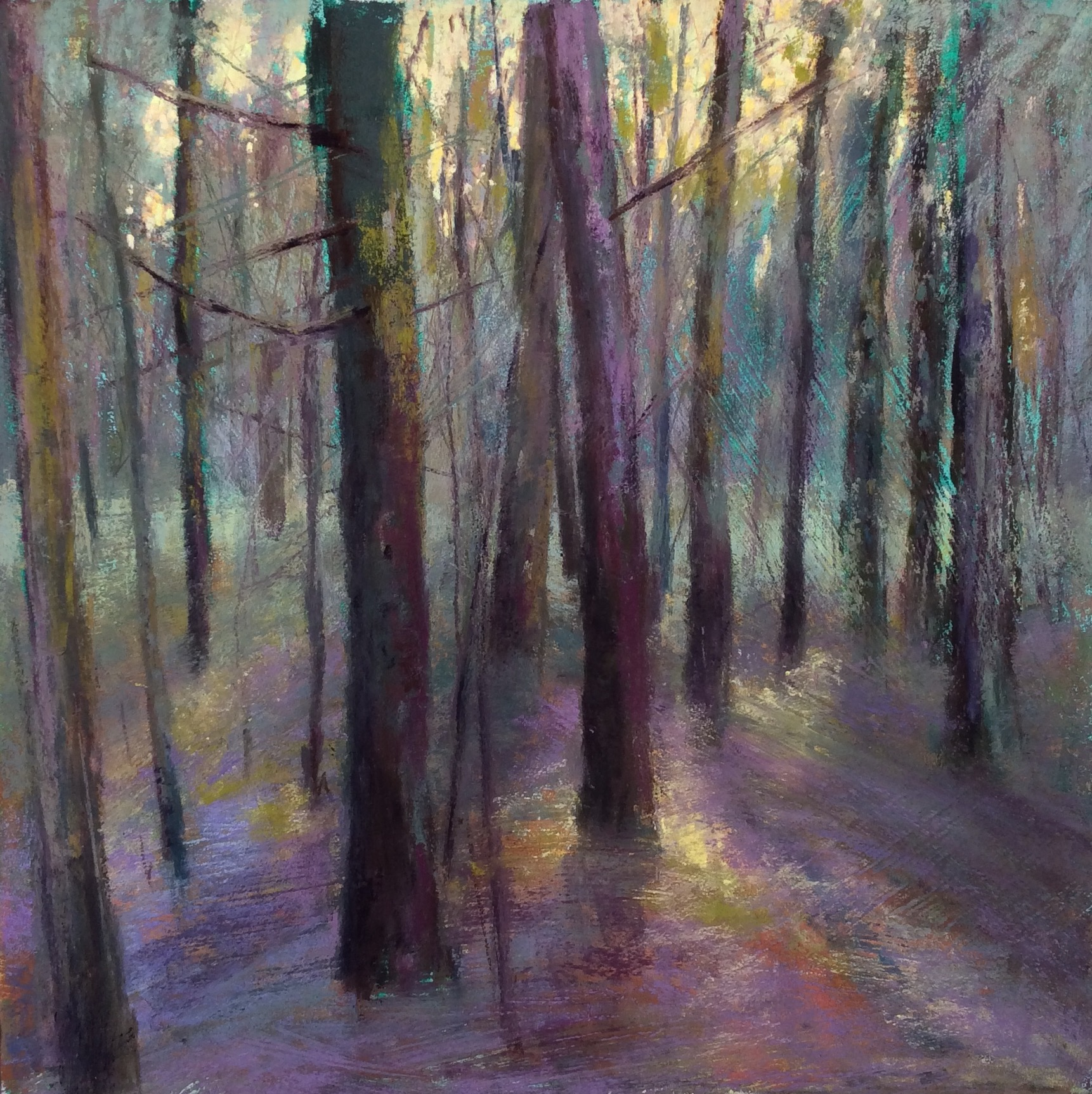 "Maureen Spinale, ""Forest Bathing,"" pastel on gatorboard primed with gesso and toned with ink, 18 x18 in. This woodland painting was inspired by the pattern of the trees and the back lighting."