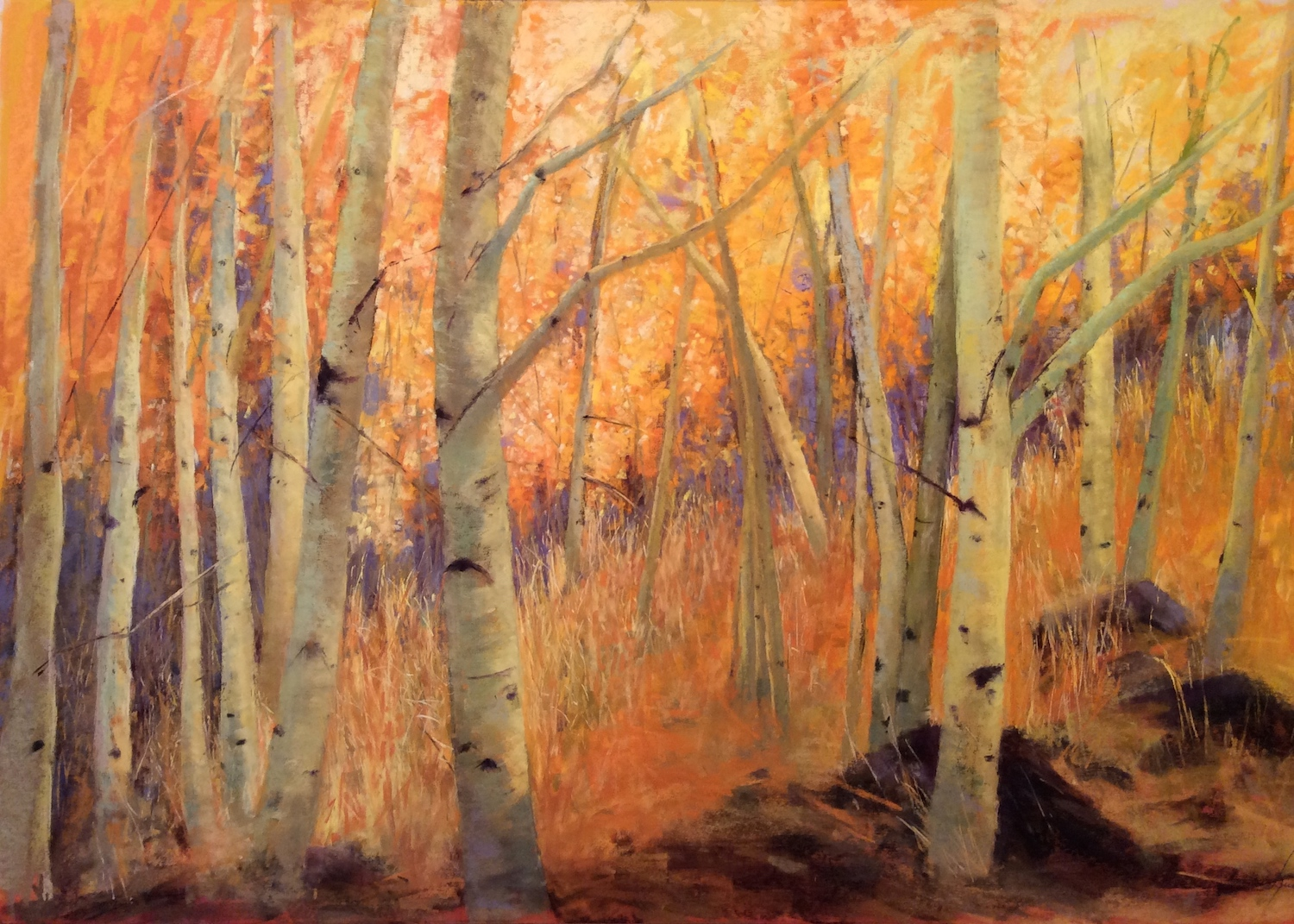 "Maureen Spinale, ""Dancing in the Light,"" pastel painted over underpainting of FW inks on Uart 400, 24x36 in. Found another stand of Aspens on a glorious day in Yosemite."