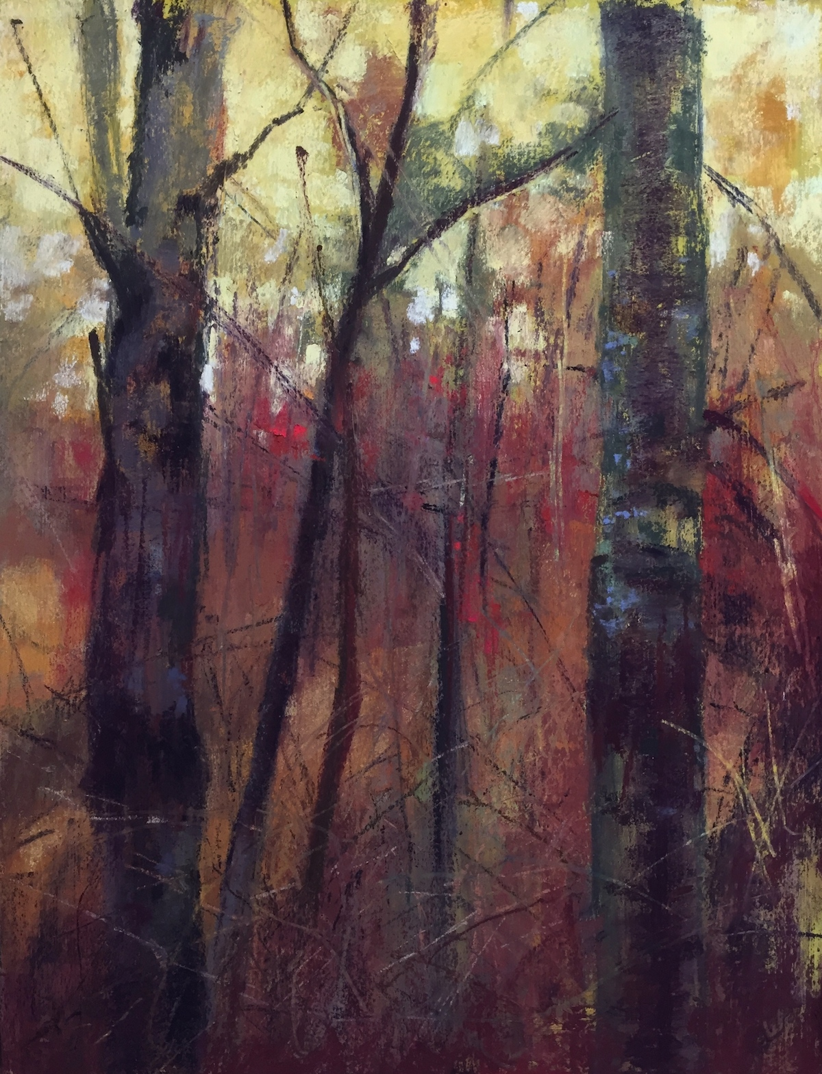 "Maureen Spinale, ""Timber,"" Ludwig, Schmincke, Unison pastel on BFK Rives paper, 11x15 in. This painting is of the trees in back of my framers shop. It was a damp day and the trees had this reddish cast to them."