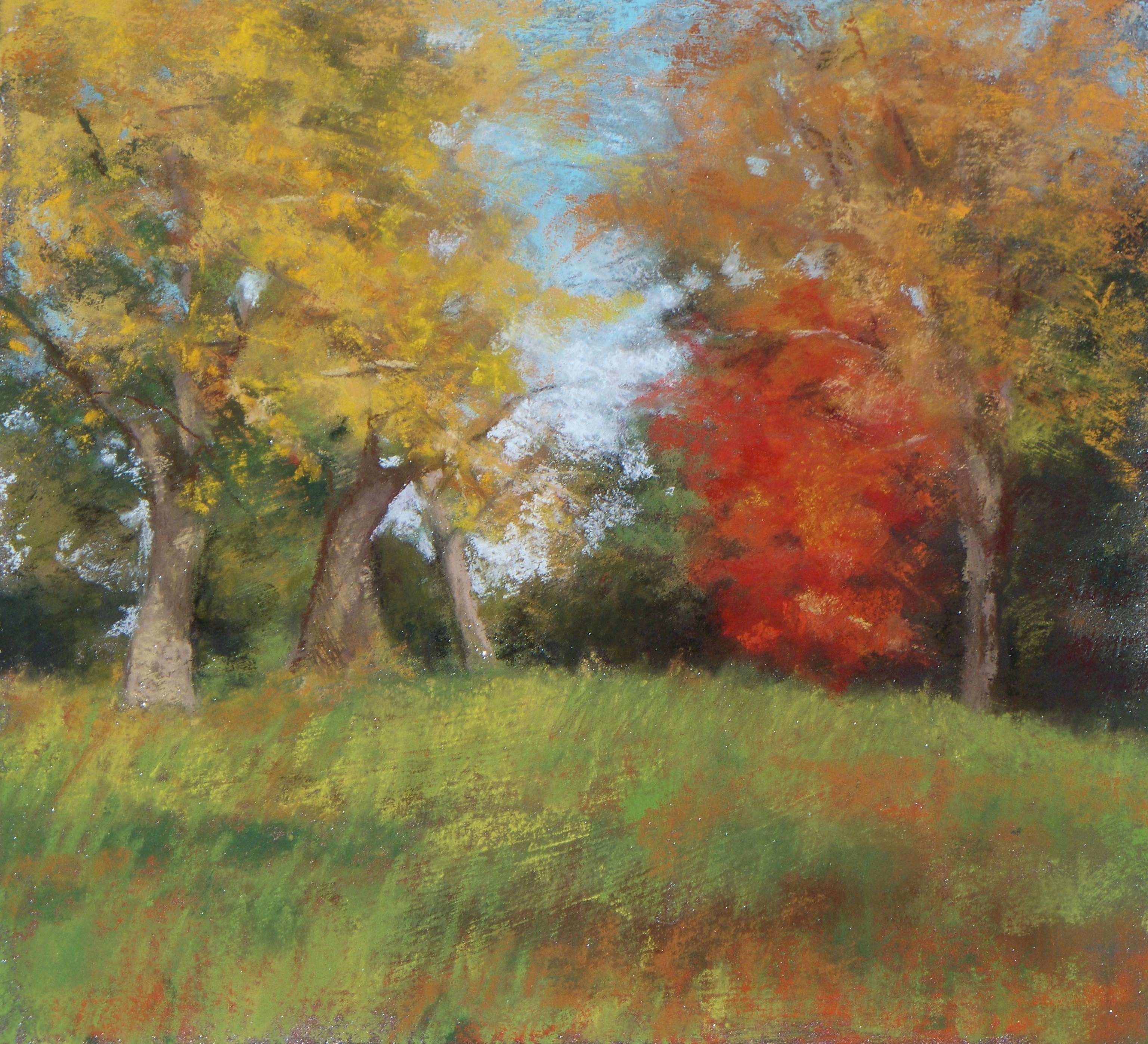 "Maureen Spinale, ""A day at World's End,"" 2009, pastel, 10x10 in. Sold"