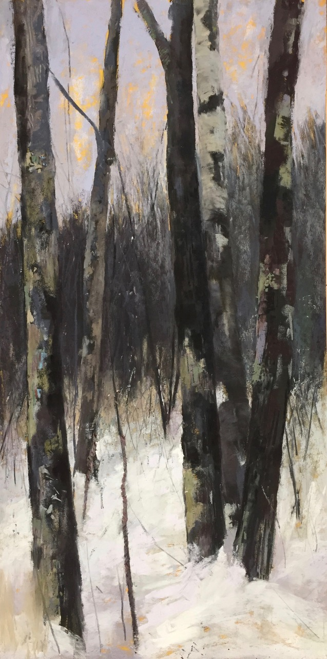 "Maureen Spinale, ""Dimming of the Day,"" Ludwig and Unison pastels over black ink and charcoal on UART 400 grade, 24x12 in. I was captivated by the bark, the moss, the scars, and how they stood together nestled in snow."