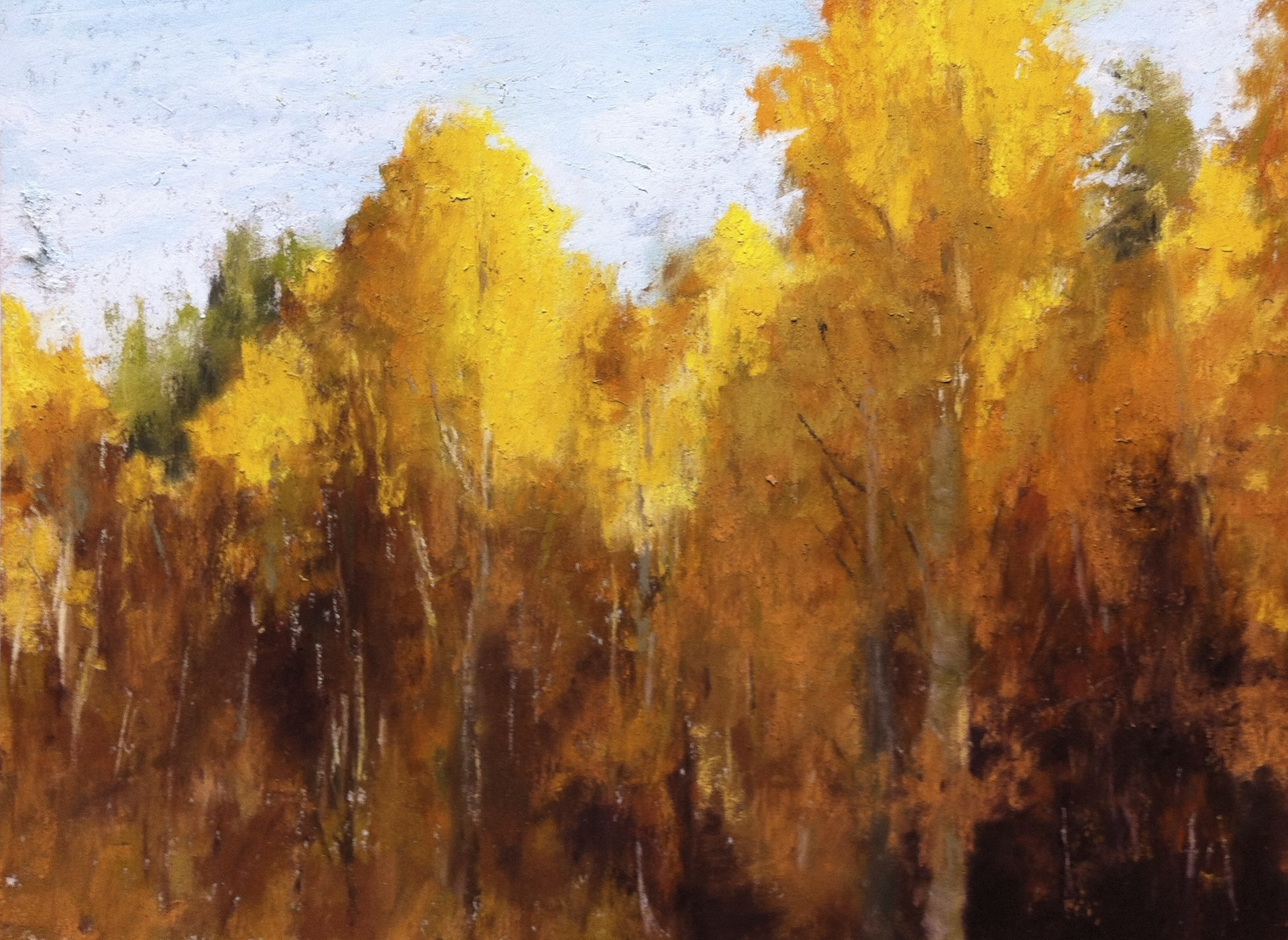 "Maureen Spinale, ""First Glance,"" pastel, 6x8 in. Sold. Aspens in Yosemite."