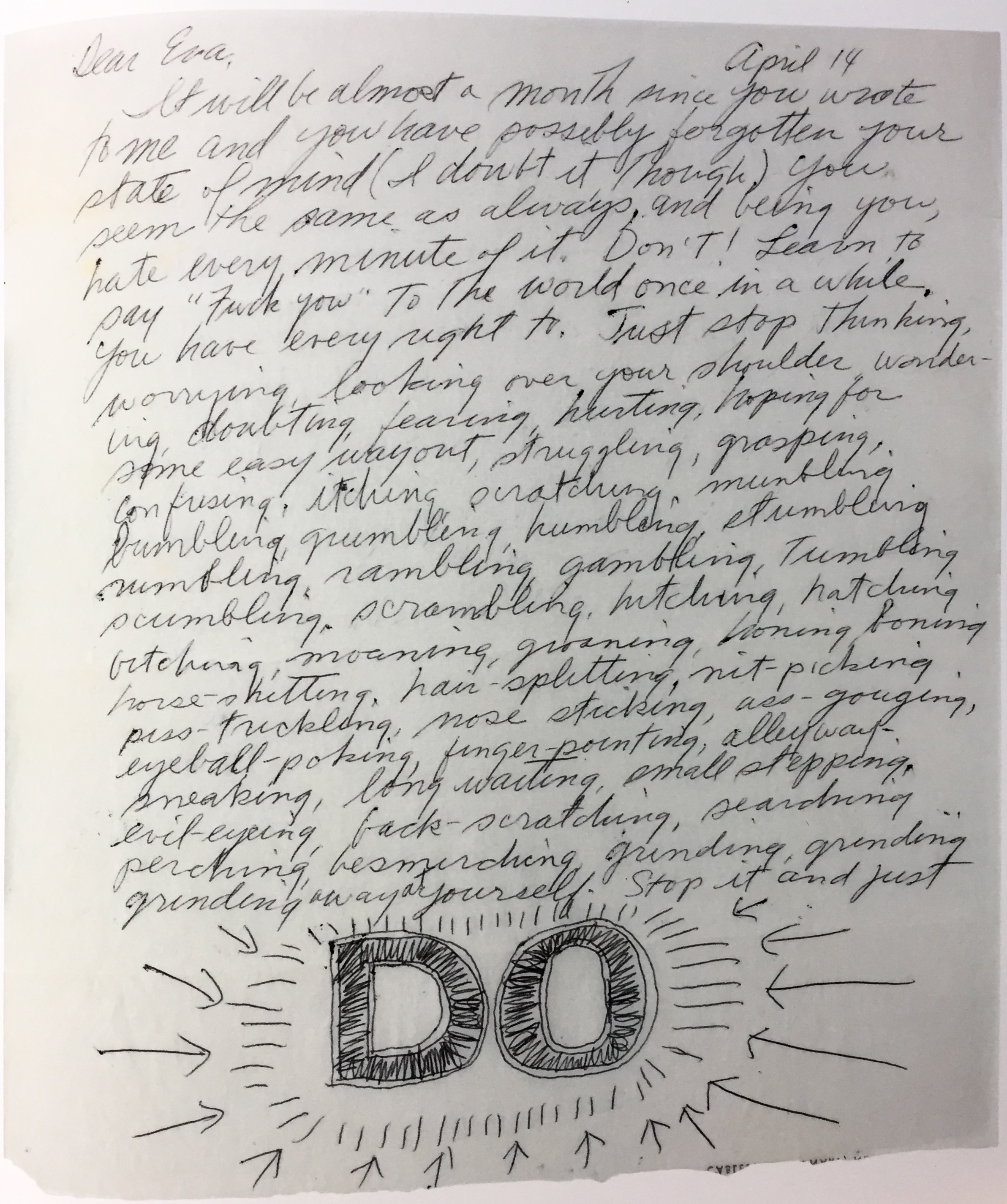 First page of a letter from Sol LeWitt to Eva Hesse, 14 April 1965