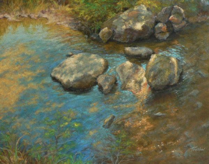 "January's Noteworthy Pastels: Gill Truslow, ""Dappled Light,"" pastels on toned gatorboard, 16 x 20 in"