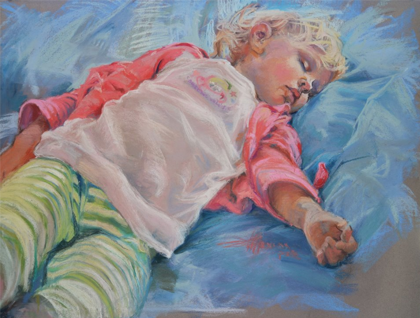 "January's Noteworthy Pastels: Glen Maxion, ""I'm Not Tired,"" pastel on Canson Mi-Teintes paper, 19 x 25 in"