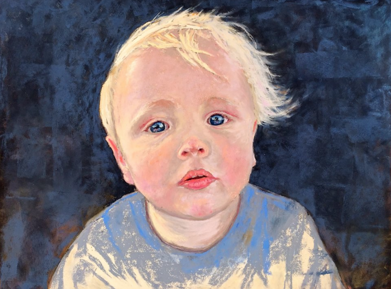 "January's Noteworthy Pastels: Kathy Falla Howard, ""Grandson Easton,"" pastel on UART paper, 12 x 16 in"