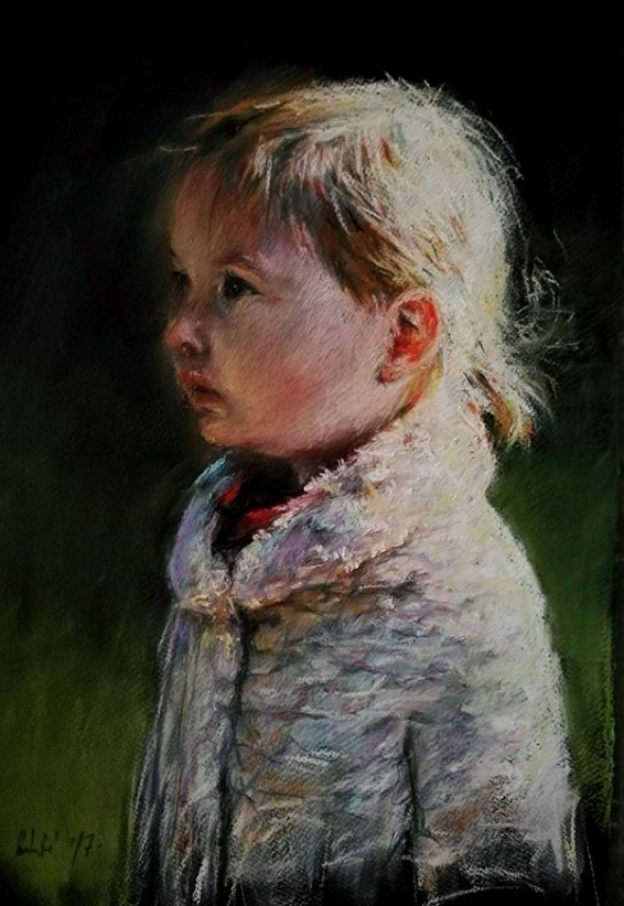 "January's Noteworthy Pastels: Máté Sandor, ""My Little Lady,"" pastel, 19 3/4 x 12 in"
