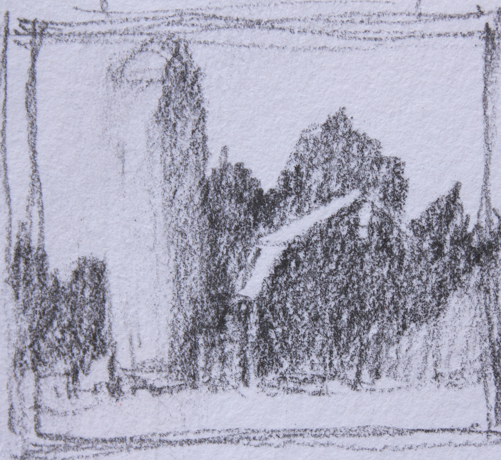 Creating colour studies: The thumbnail showing three values - dark, mid, and light.