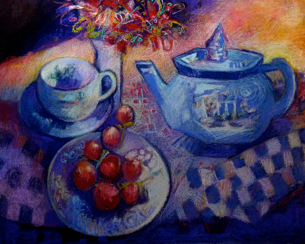 "Bernadette deCesare, ""Tea Time,"" 2011, pastel on Wallis paper, approx 18x24 in."