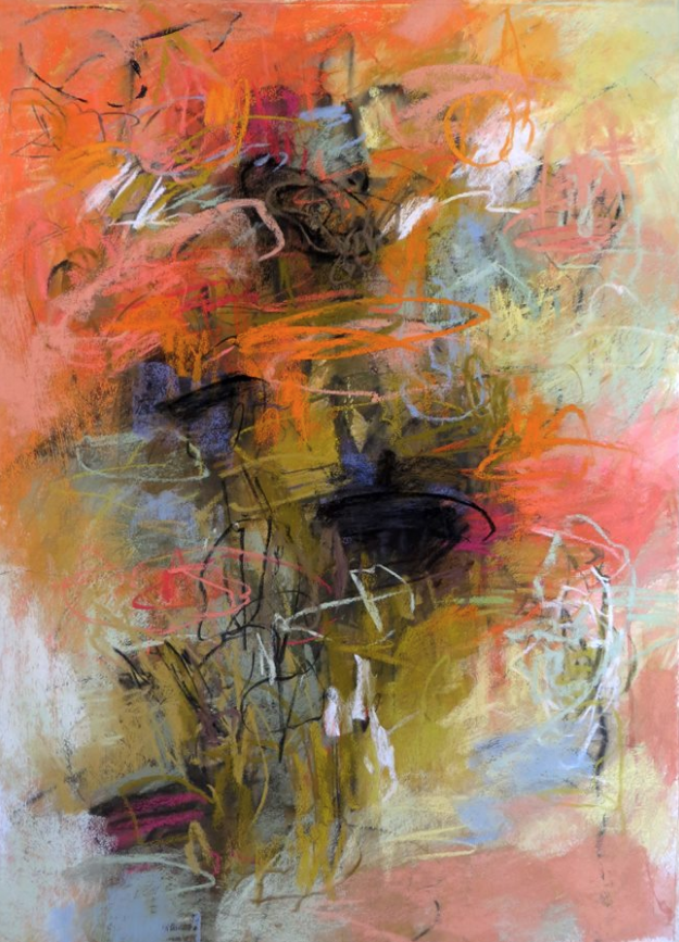 """February's Fantastic pastels:Debora Stewart, """"In the Garden,"""" pastel on BFK Rives paper with ground, 30 x 22 in"""