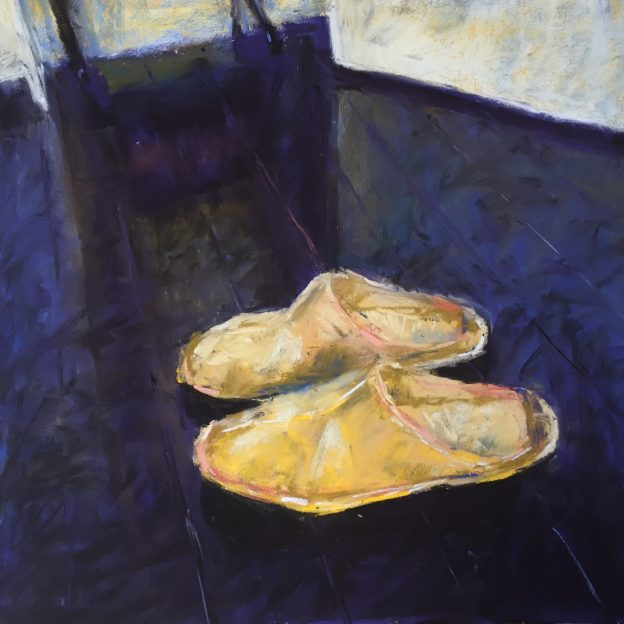 "Breaking the rules: I wanted to bring the parts of the floor together and make it all less colourful. So I scumbled a warm black pastel (Unison Grey 13) over much of the floor area. And it's done. Gail Sibley, ""Night Slippers on Black,"" Unison pastels on UART 320 grade, 12 x 12 in."
