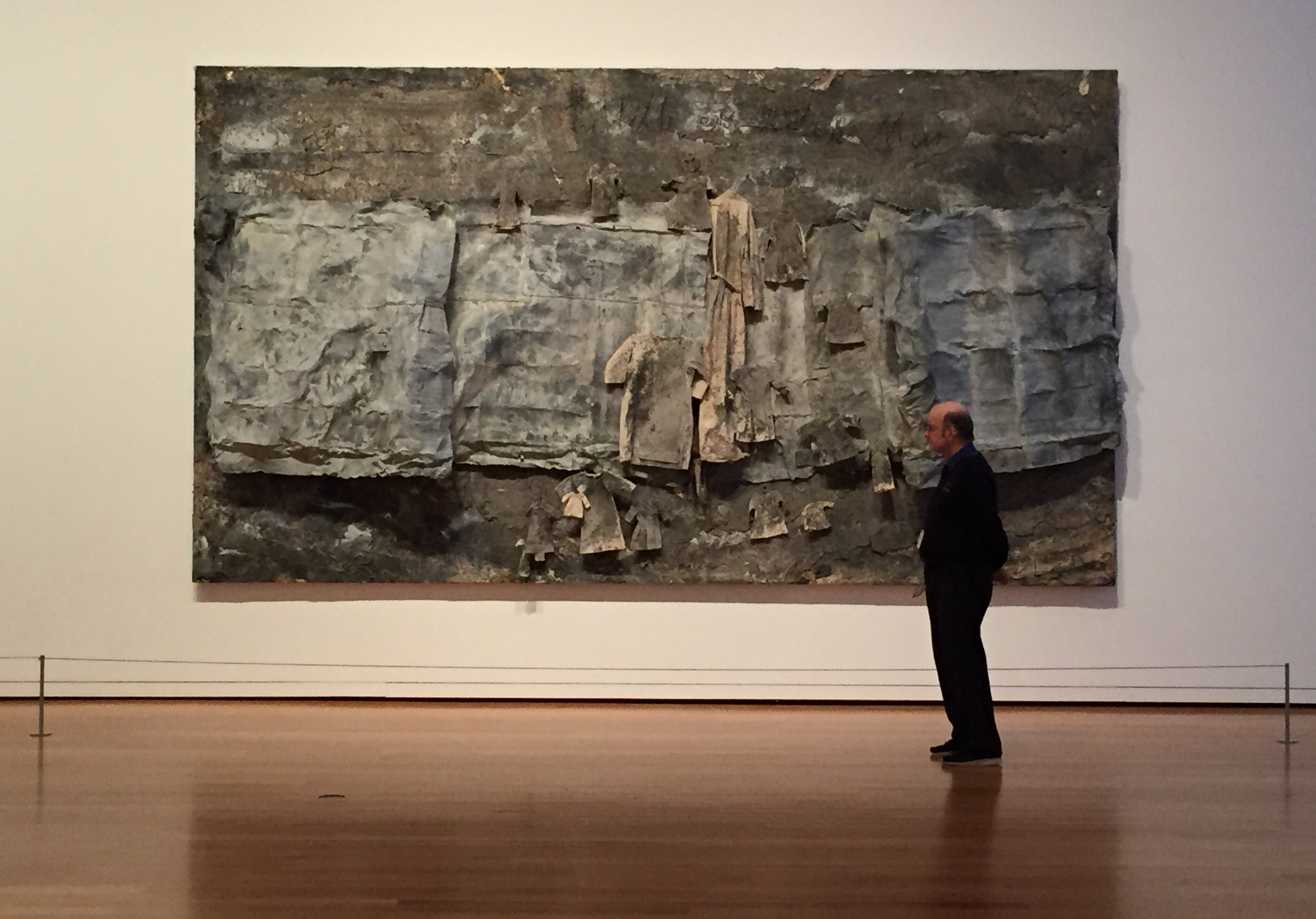 """Breaking the rules: Anselm Kiefer, """"The Wave"""" or """"Lilith at the Red Sea,"""" 1990, lead, clothes, steel wire, and ash on canvas, Seattle Art Museum"""