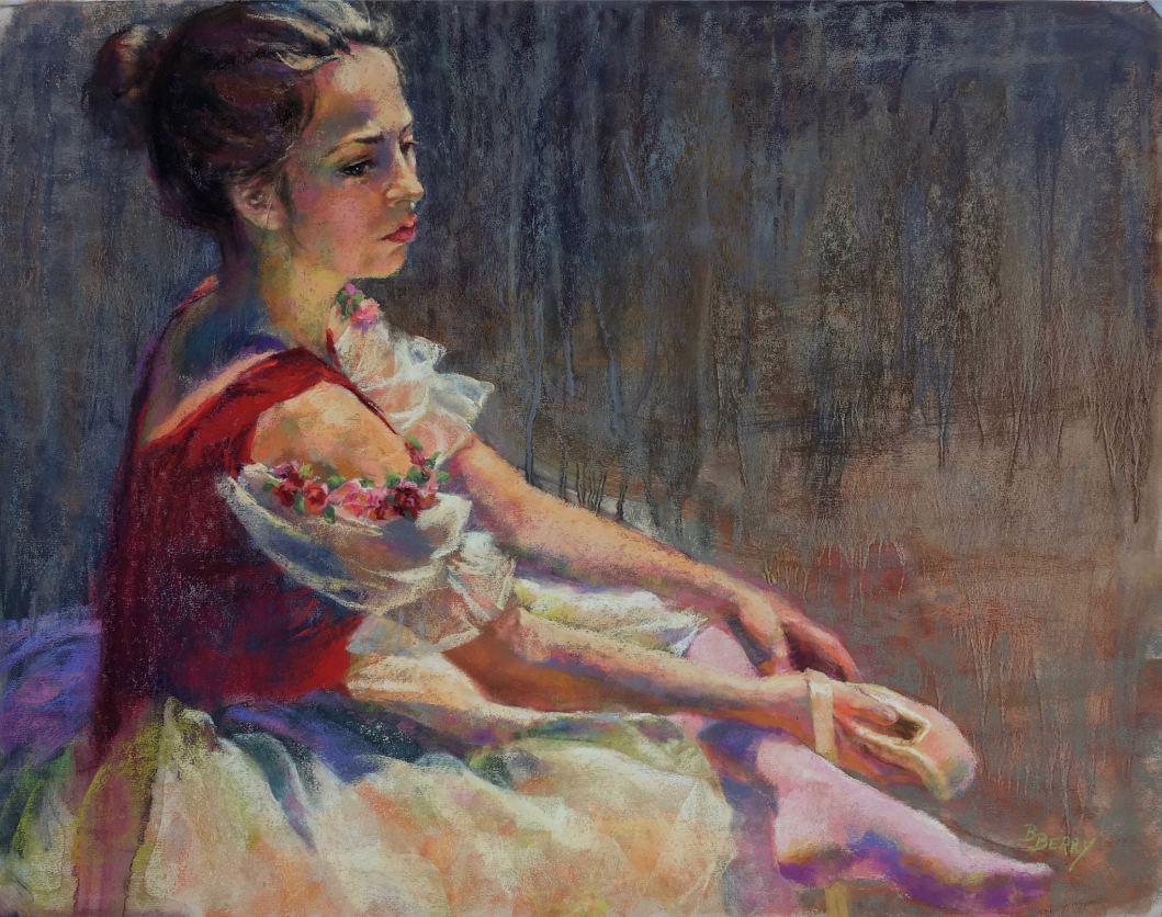 """February's Fantastic pastels: Barbara Berry, """"Ribbons and Roses,"""" pastel over an underwash, 21 x 27 in"""