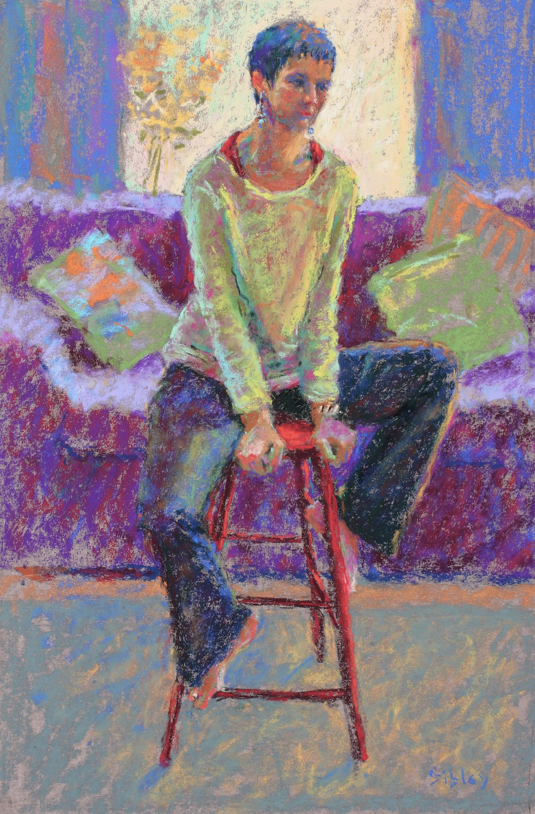 "PSA Feature Artist: Gail Sibley, ""The Red Stool,"" pastel on Wallis paper, 18 x 12 in"
