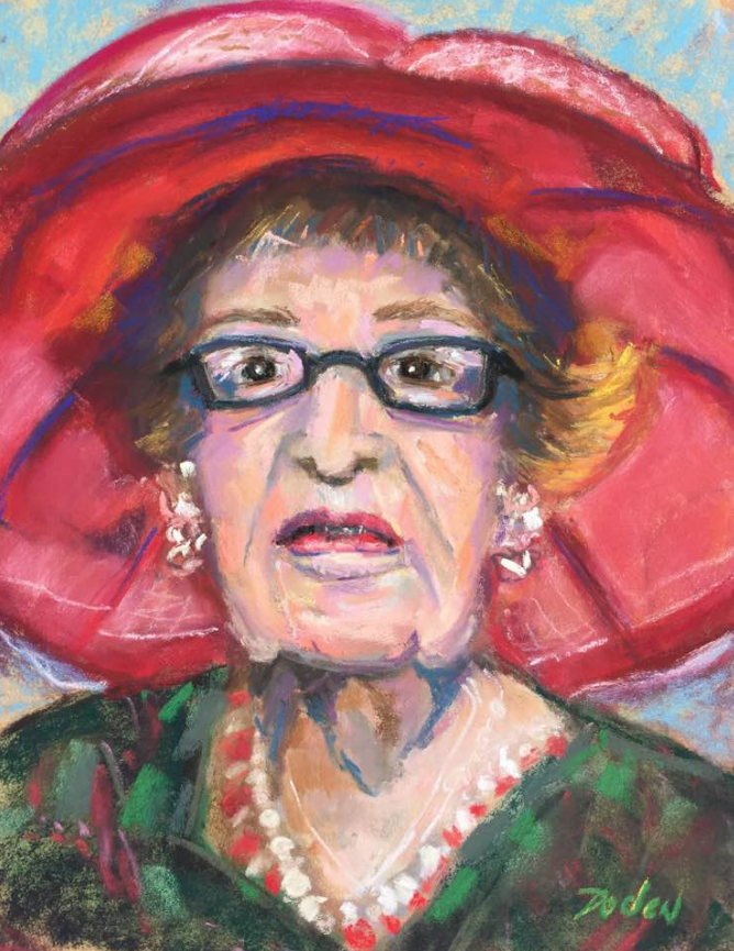 """February's Fantastic pastels: Linnea Doden, """"Red Hat Lady,"""" pastel, 12 x 9 in"""