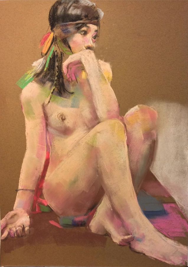 """February's Fantastic pastels: Yuji Sakuma, """"Night Life Drawing - model with feather for Year of the Rooster,"""" Rembrandt and Gondola pastels on Muse pastel paper, 21 3/4 x 15 1/2 in (55 x 39.5 cm)"""
