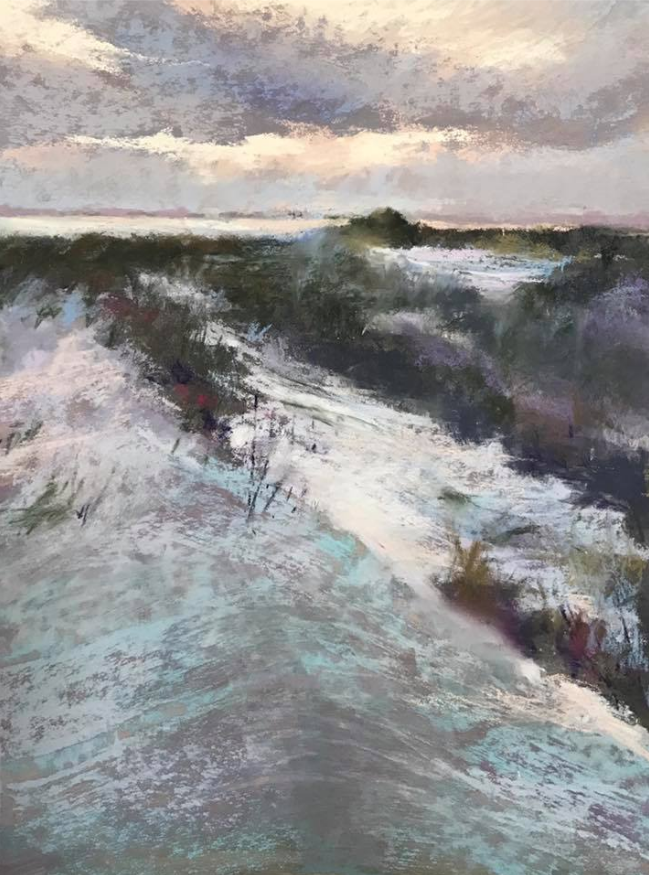 "March's Notable Pastels: Beth Tockey Williams, ""Folly Evening Dunes,"" pastel over alcohol underpainting and clear gesso on UART board, 12 x 9 in"