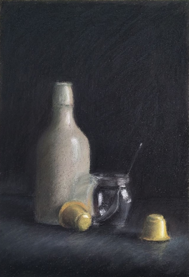 "March's Notable Pastels: Roi Weinberg, ""Still Life,"" Nupastel and conte on processed paper, 12 1/2 x 8 1/2 in (31.5 x 21.5 cm)"