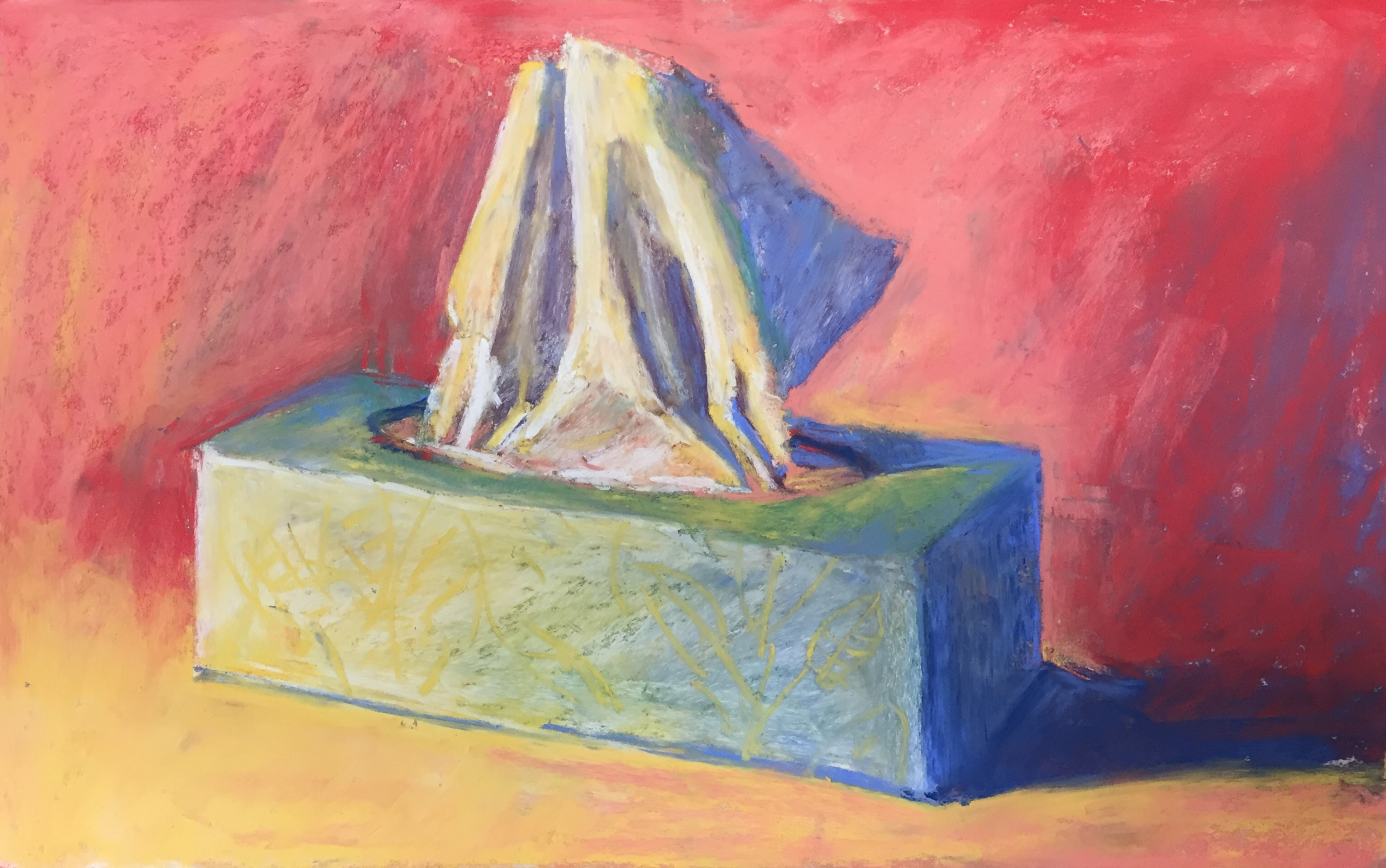 Lack of colour choices: 6. I noticed the shadow side of the box had become too light so darkened it with a light swipe of dark blue. And now consider it done! Gail Sibley, 'Box of Tissues,' Unison pastels on UART 400 paper, 7 3/4 x 12 in.