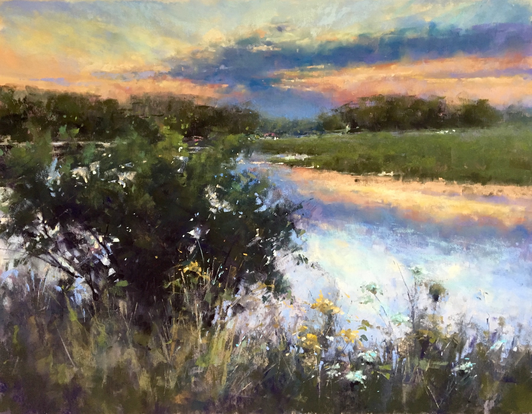 """Jacob Aguiar, """"Eastern Trail July Sunset,"""" pastel on paper, 14 x 18 in"""