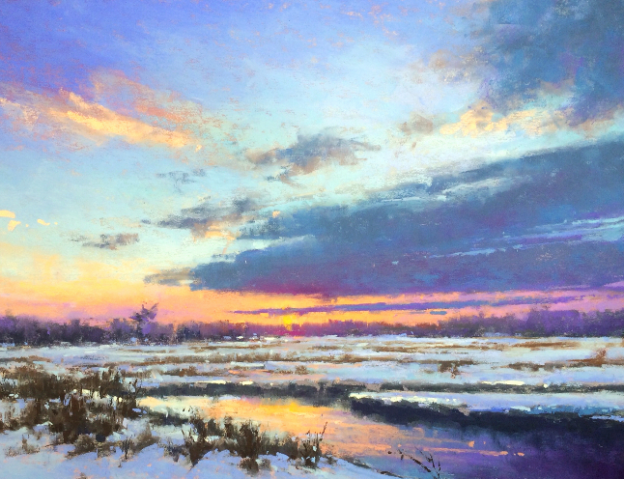 "Jacob Aguiar, ""Evening Calm in Blues,"" pastel on paper, 12 x 18 in"