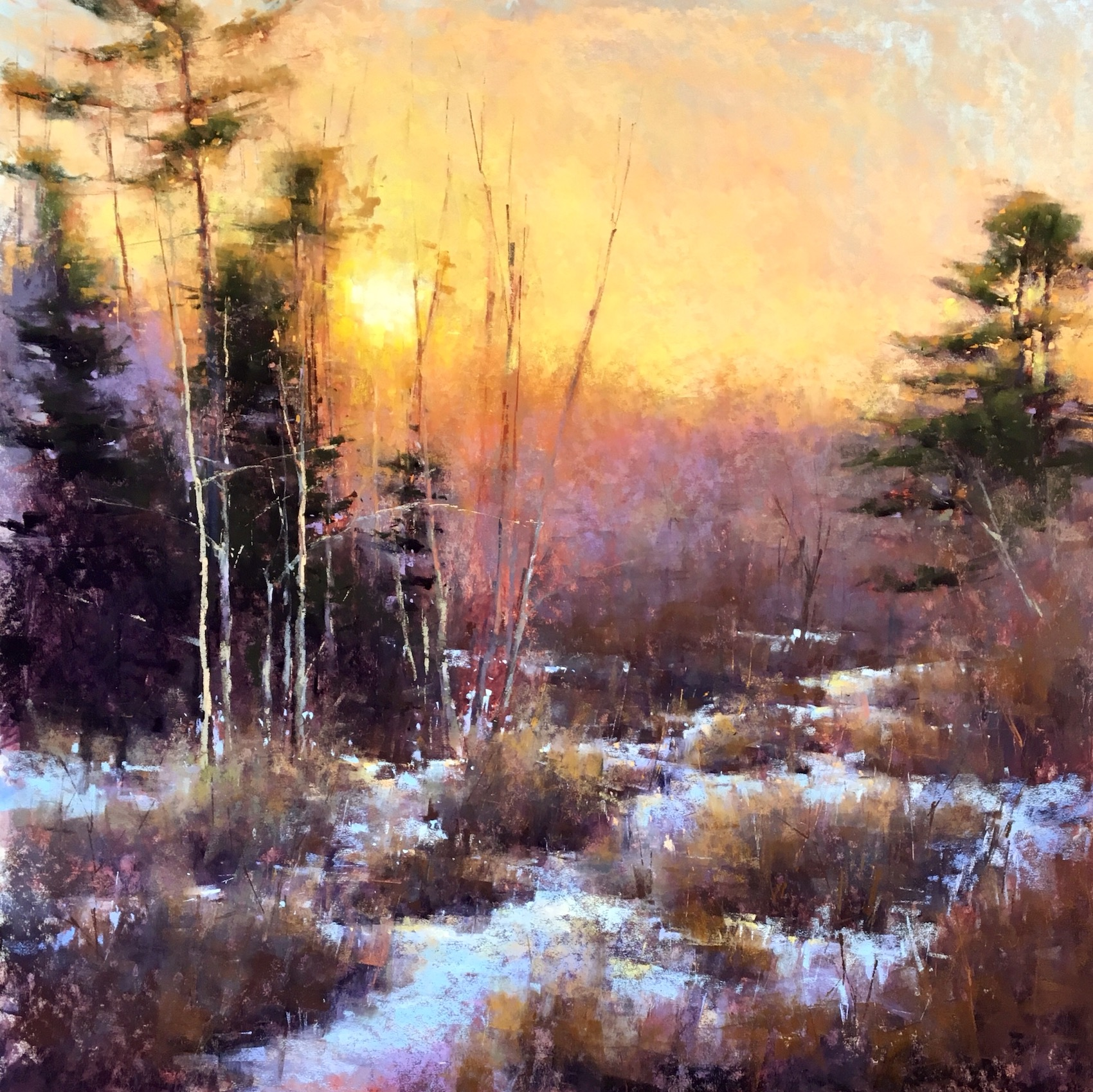 """Jacob Aguiar, """"March Sunset,"""" pastel on paper, 24 x 24 in"""