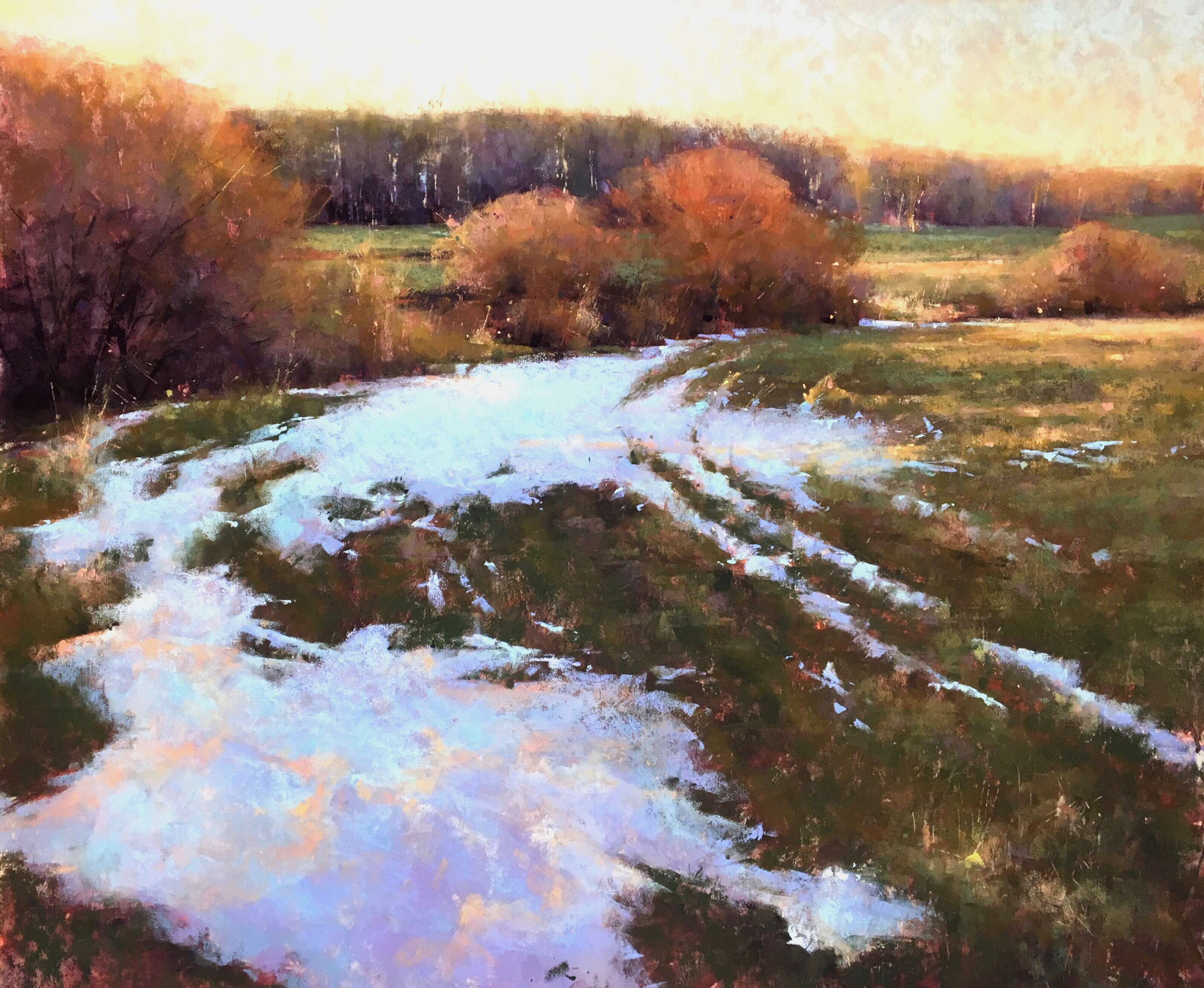 """Jacob Aguiar, """"March Thaw,"""" pastel on paper, 20 x 24 in"""