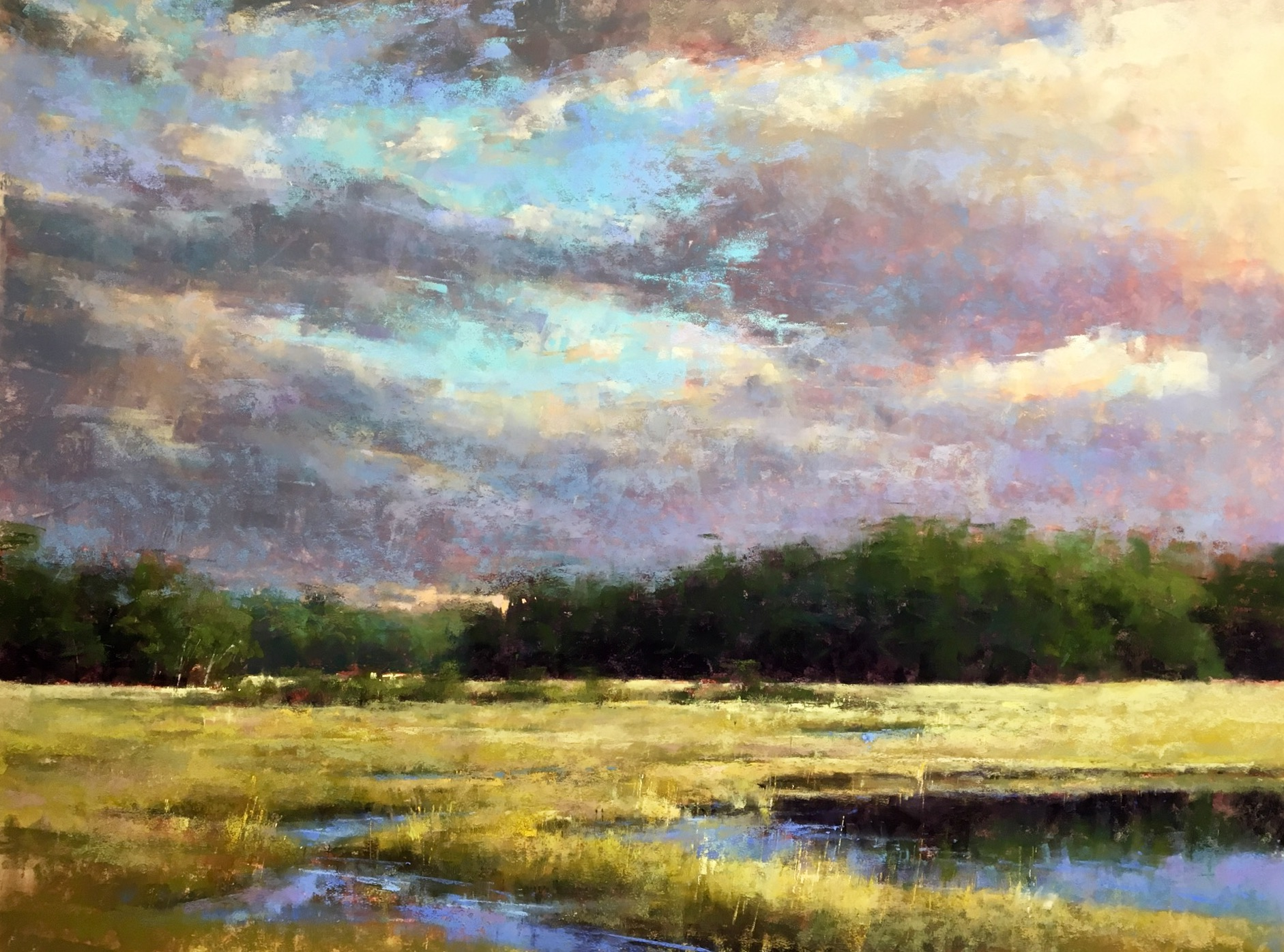 """Jacob Aguiar, """"Marsh Golds,"""" pastel on paper, 18 x 24 in"""