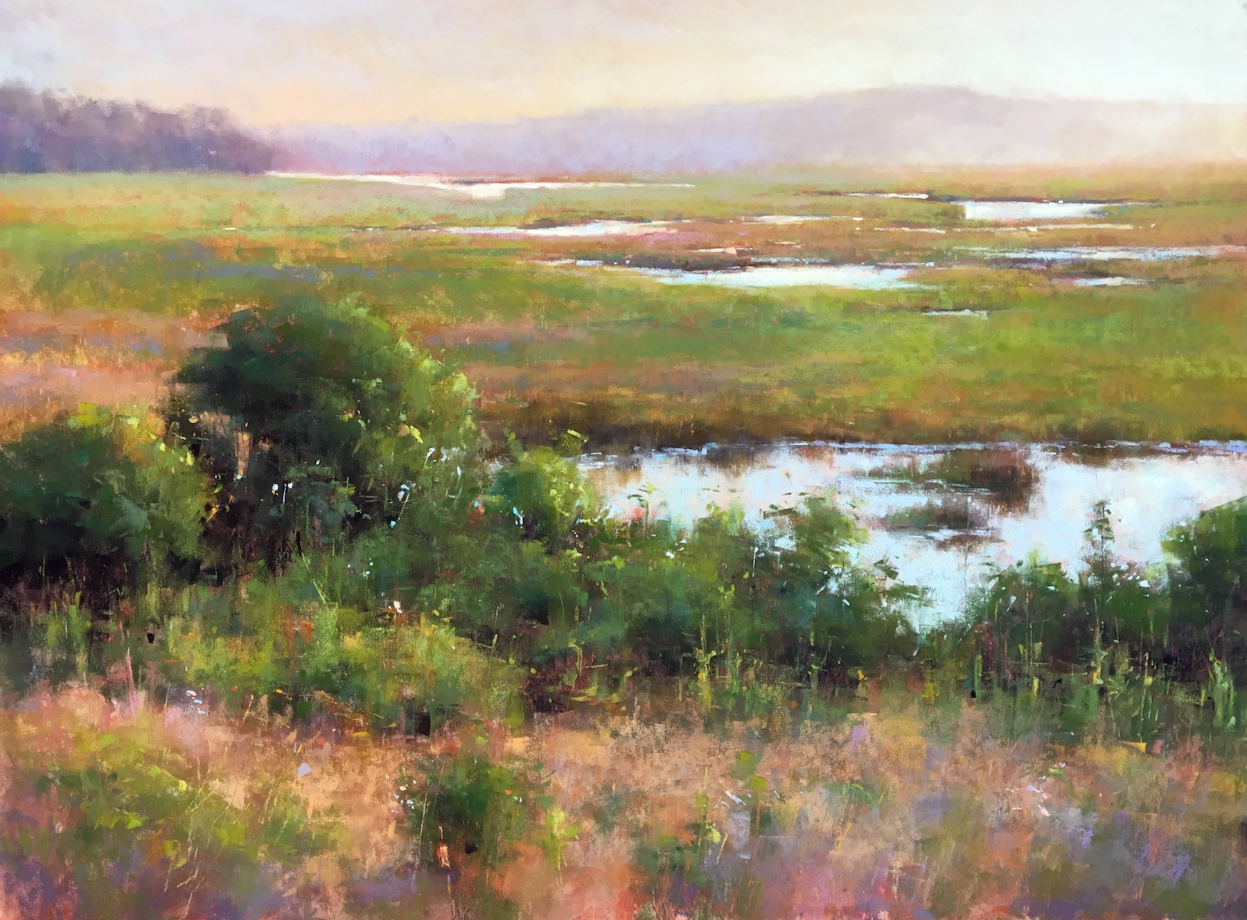 """Jacob Aguiar, """"Midsummer Evening,"""" pastel on paper, 18 x 24 in"""